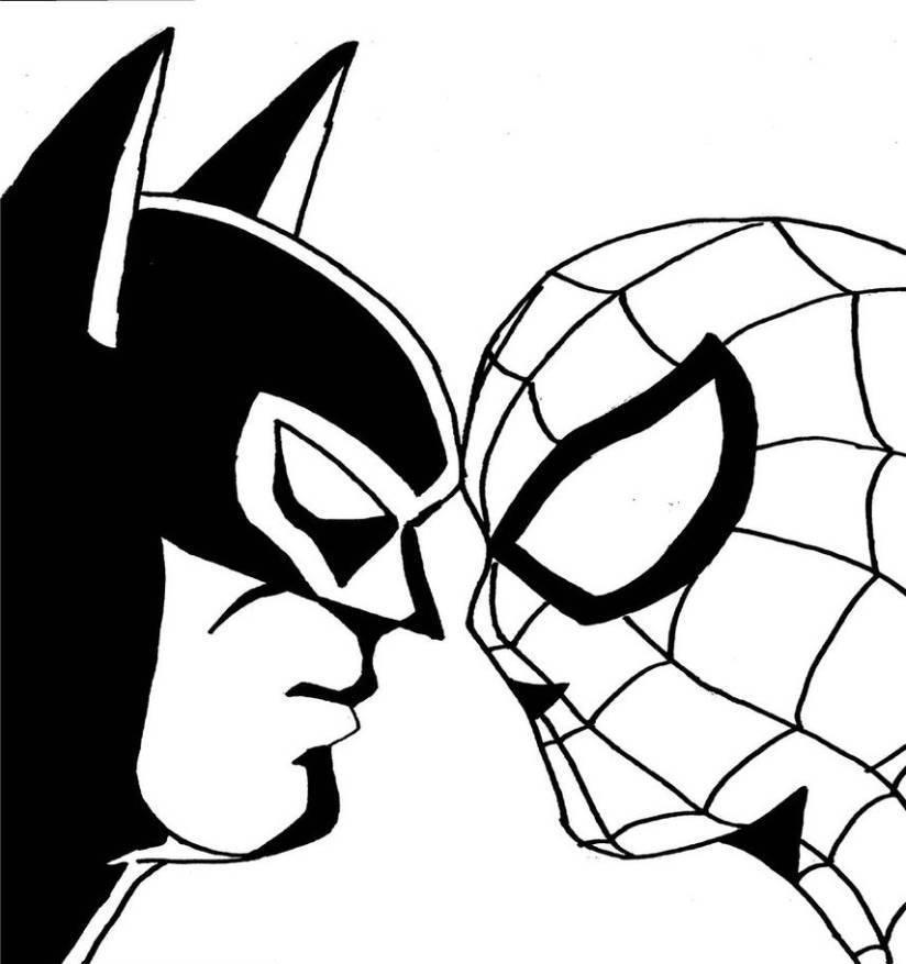 kleurplaten batman spiderman